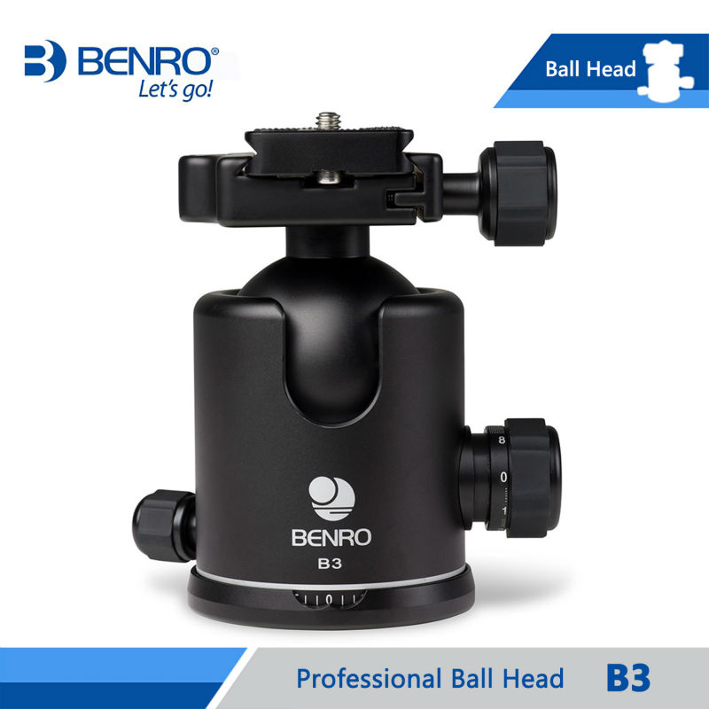 BENRO B3 Ballhead Professional Ball Heads For Benro Camera Tripod Aluminum Dual Action Ballheads Max Loading