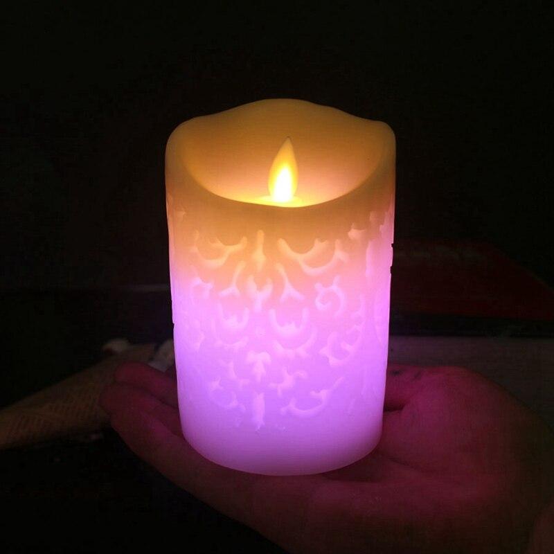 1 adet Renk Değişimi Degrade Led Mumlar Uzaktan Kumanda Elektronik Alevsiz Solunum Mum Gece Işıkları Düğün Parti Dekor title=