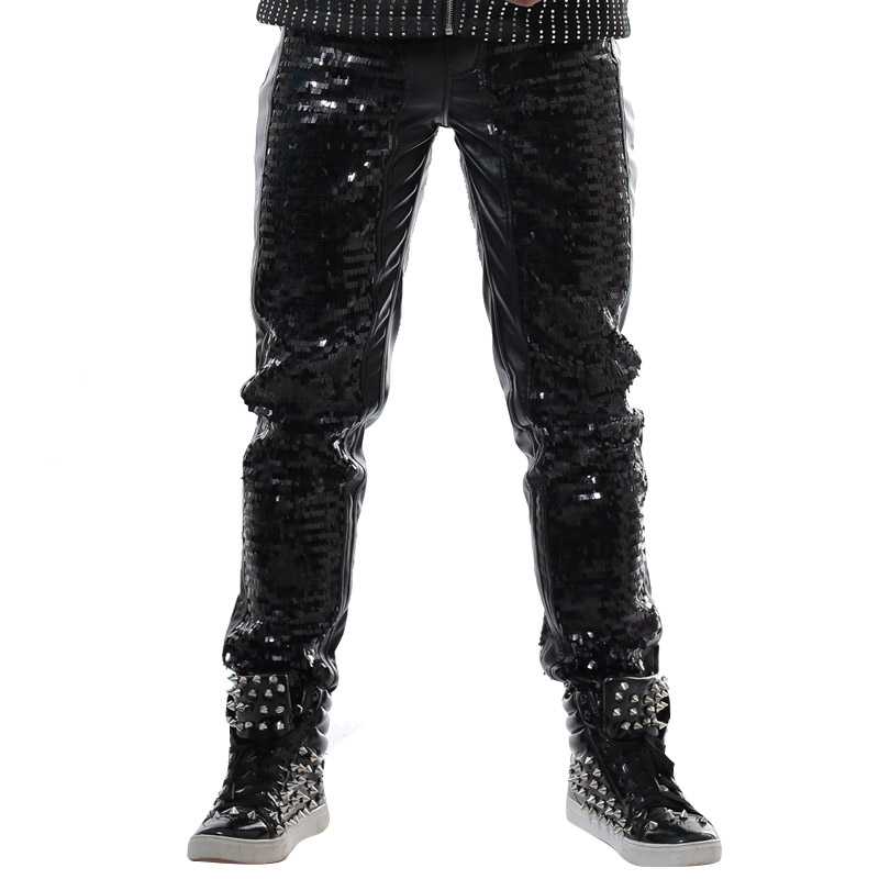28-42!!! 2018 Mode Costume de scène Magic slim casual pantalon punk dj costume mâle paillette en cuir pantalon