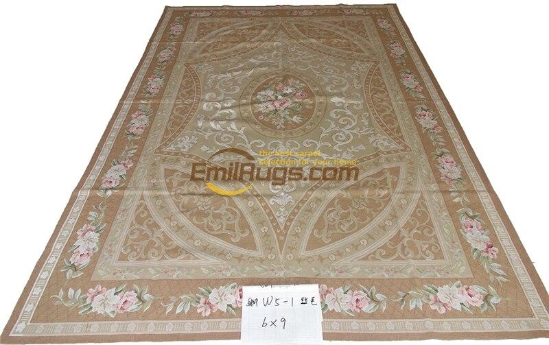 Superbe tapis en laine de soie Aubusson belle or clair Camel Beige #164 (045B) 6' X 9' W5-1 gc8aubsilk