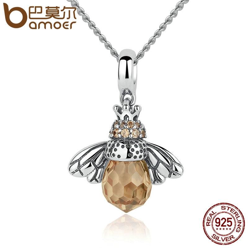 BAMOER 925 Sterling Silber Schöne Orange Bee Tier Anhänger Halskette für Frauen Edlen Schmuck CC035