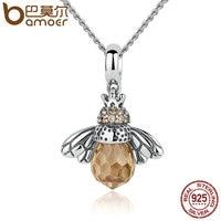 BAMOER 925 Sterling Silver Đáng Yêu Ong Cam Animal Mặt Dây Vòng Cổ cho Phụ Nữ Đồ Trang Sức Mỹ CC035