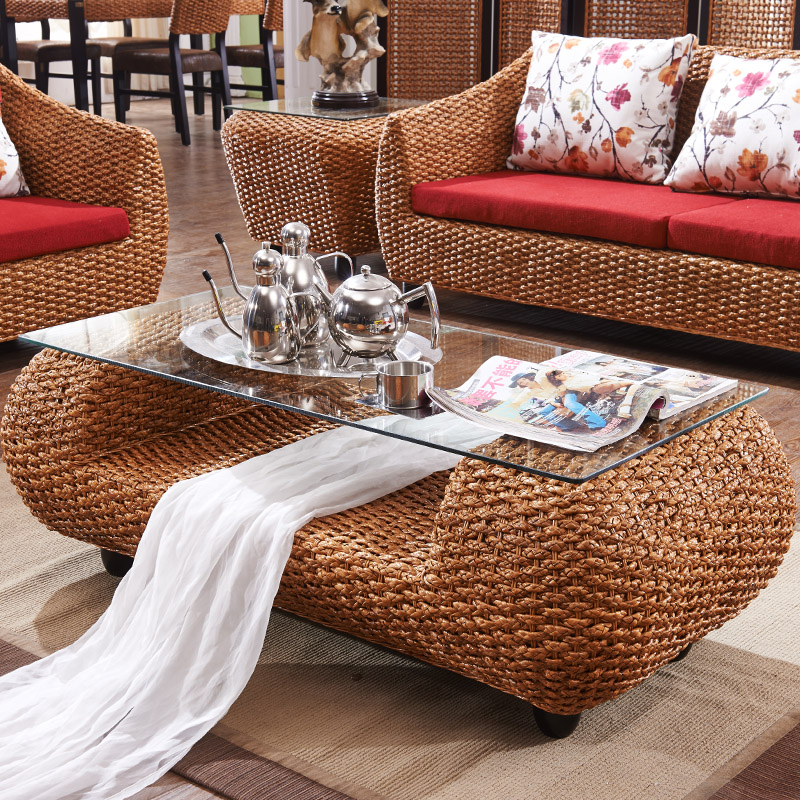 Home bamboo and rattan living room coffee table tea tables ...
