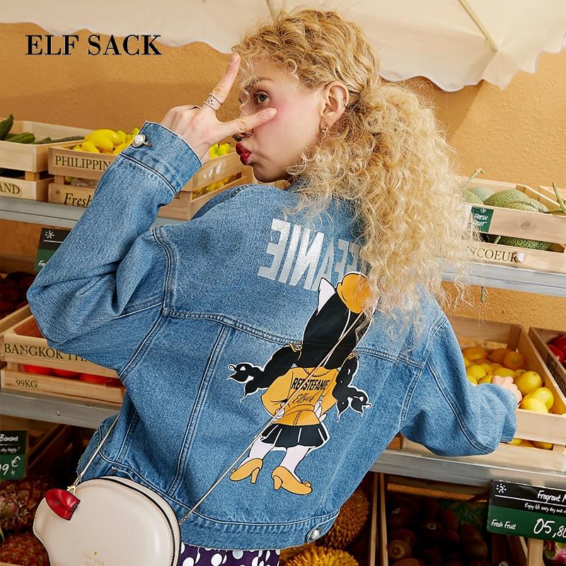 Elfo saco nuevo algodón Mujer Chaquetas Casual Turn down Collar Denim mujeres abrigos impresos de gran tamaño Mujer Chaquetas de mezclilla ropa de abrigo-in chaquetas básicas from Ropa de mujer    1