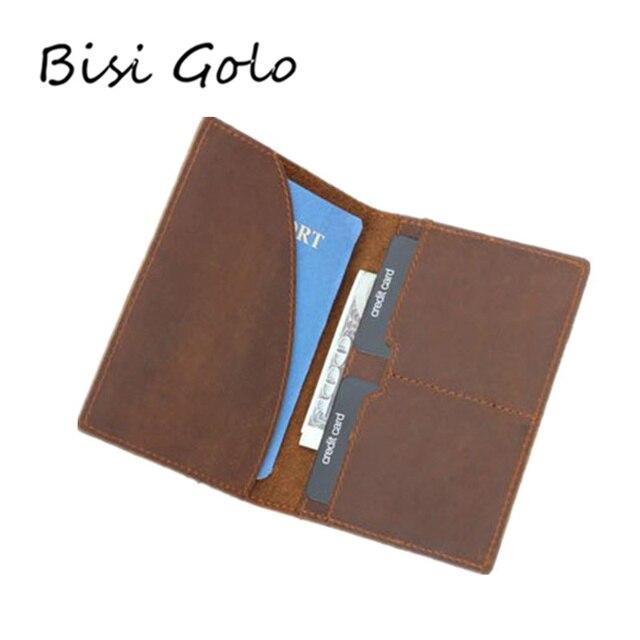 32b5c9463 BISI GORO Couro Genuíno Homens Carteira Passaporte de Viagem Titular Caso  do Cartão Crédito Licença Homem Saco Embreagem