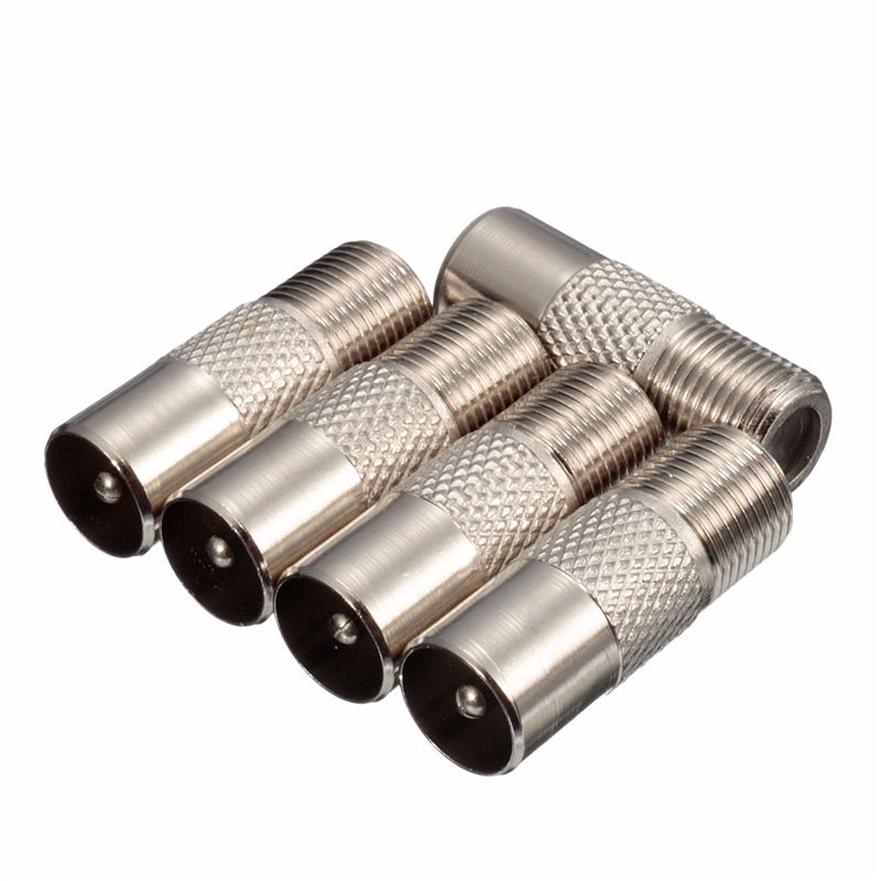 Aluminium Alloy 5pcs A Set F type Socket to Coax RF IEC Aerial Plug Male Adapter Twist On Connector 2 set lot neutrik powercon type a nac3fca nac3mpa 1 chassis plug panel adapter