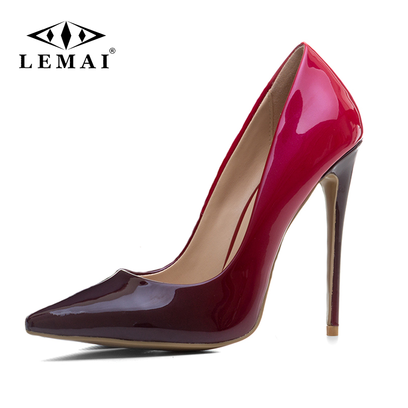 LEMAI 2018 Women pumps, Fashion gradient color High heels single shoes female Spring Summer patent leather wedding party shoes siketu free shipping spring and autumn high heels shoes career sex women shoes wedding shoes patent leather style pumps g017