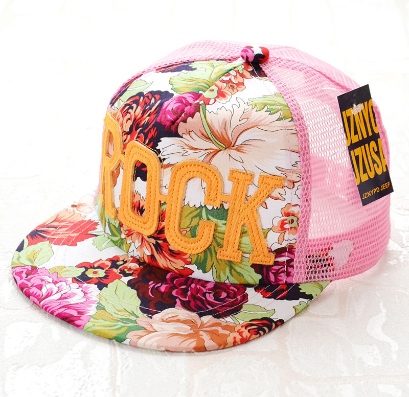 2018 Flowers Print Summer Rock Children's Baseball Caps Baby Boys Girls Summer Sun Mesh Caps Snapback Hat