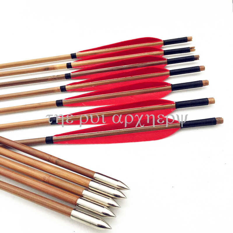 6/12/24pcs With Practice Silver Points  Turkey Feathers Fletching Practice Arrows Bamboo Shaft Archery Target Arrows