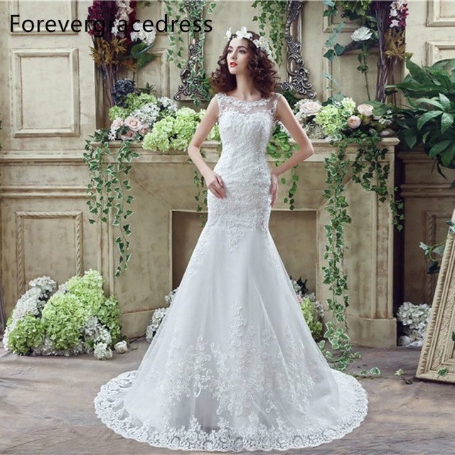 cb8709ff36 Forevergracedress Real Photos Mermaid Wedding Dress Sheer Neck Sleeveless  Applique Long Bridal Gown Plus Size Custom Made