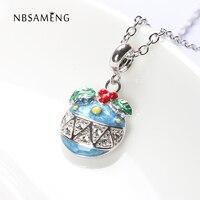494486687 Authentic 925 Sterling Silver Bead Enamel Christmas Bell Decoration Pendant  Charm Fit Pandora Bracelet Necklace Jewelry