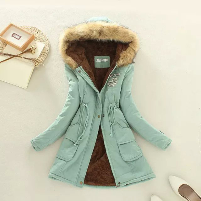 Women Winter Cotton Down & Parkas Full Sleeve Zipper Hooded Long Coat Adjustable Waist Thick Slim Warm Jacket Lining Fur Outwear