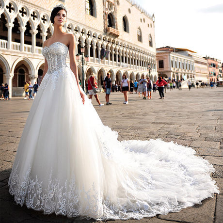 Luxury Cathedral Train Ball Gown Wedding Dresses Fitted Lolita Lace White Bridal Designer Custom Made Front Short Back Long - modabelle Haute Couture Store store
