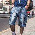 Plus Size Mens Denim Biker Baggy Cargo Blue Jeans Shorts For Big Men Loose Fit Shorts Jeans With Cargo Pockets 40 42 44 46