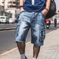 Plus Size Mens Denim Biker Baggy Cargo Blue Jeans Shorts For Big Men Loose Fit Shorts Jeans With Cargo Pockets 40 42 44 46