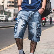 Plus Größe Herren Denim Biker Baggy Cargo Blue Jeans Shorts Für Große männer Lose Fit Shorts Jeans Mit Cargotaschen 40 42 44 46