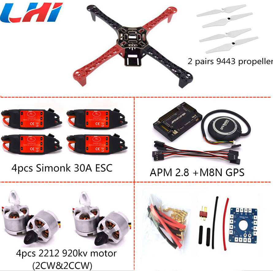 F450 PCB Frame Kit APM Flight Controller Board APM 2.8 M8N GPS 2212 920KV Motor simonk 30A ESC 9443 Props For Quadcopter f450 450mm pcb version quadcopter rack frame kit naza m lite flight controller board