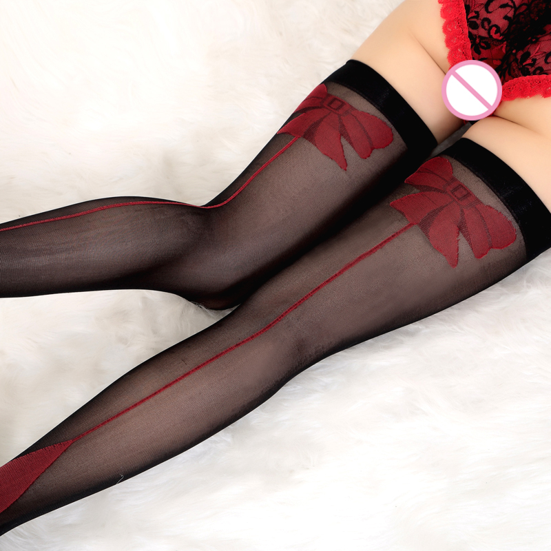 Red Bowknot Transparent Women Nylon Sexy Stockings Sexy Over The Knee Socks Sheer Lace Thigh High Stockings Long Socks 010