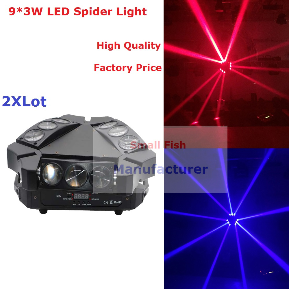 2017 Factory Price 2Pcs/Lot NEW LED Moving Head Light Mini LED Spider 9X3W RGB 3IN1 Beam Lights Good Quality Fast Shipping