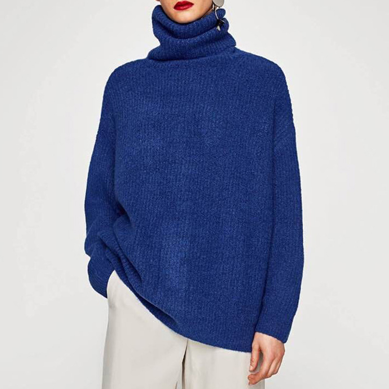 high quality computer knitted long sleeves women fashion sweater oversize boyfriend design Acrylic turtleneck long blue pullover