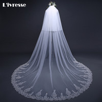 Top Quality 2 T 80* 300 CM Lace Wedding Veil With Comb Sparkly Appliques Edge Velo De Novia 3 Metros Cathedral Veil Sequins