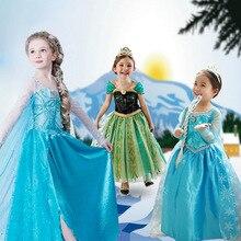 Vestidos da menina Princesa Crianças Roupas Anna Elsa Rainha da Neve Trajes Cosplay Fantasia Vestido de Festa para o Miúdo do Dia Das Bruxas Natal