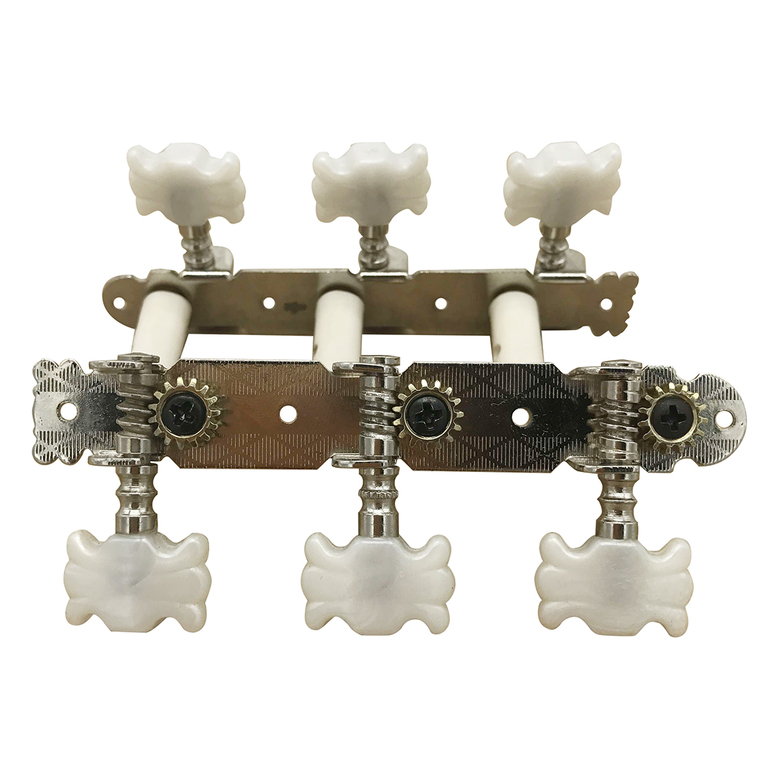 1 Pair Silver+white Classical Guitar Assembly Tuner Tuning Keys Pegs Machine Head