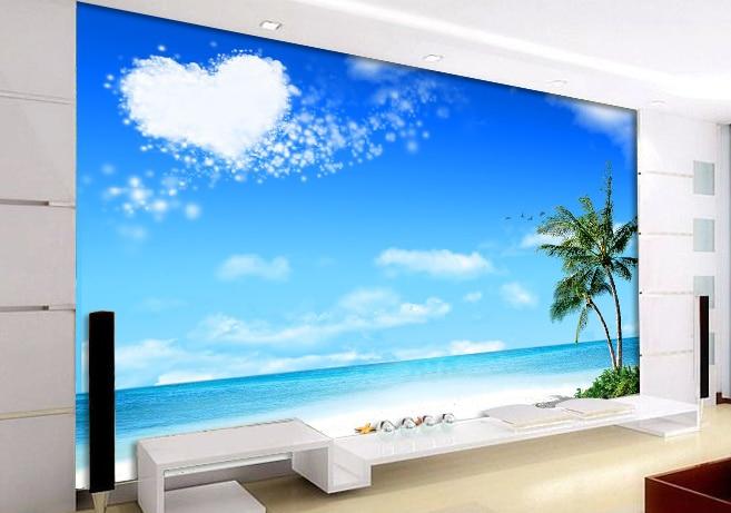 Custom 3 D Photo Wallpaper Wall Murals 3d Wallpaper Beach: 3D Sea Beach Wall Mural Wallpaper ,Custom Photo Wallpaper