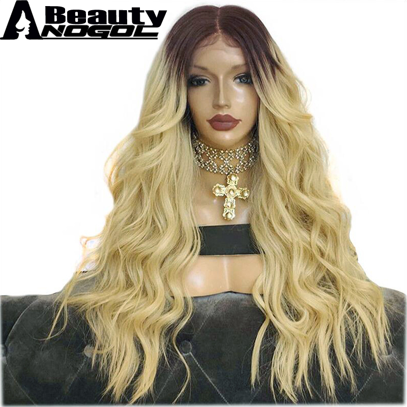 ANOGOL BEAUTY High Temperature Fiber Pre Plucked Dark Brown Ombre Blonde Long Body Wave Synthetic Lace Front Wig With Baby Hair