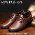 2016 Новый Натуральная Кожа Мужчины Оксфорды, Шнуровке дышащий Бизнес Повседневная Обувь Мужчины Свадьба/Платье Обувь V-981