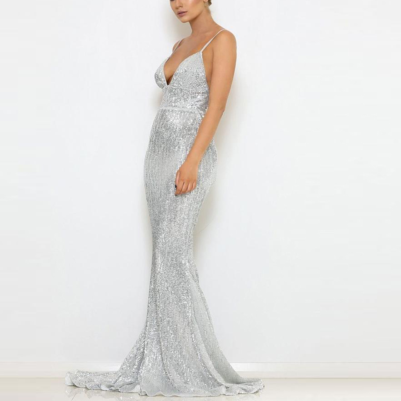 2019 Sexy Padded V Neck Stretchy Sequined Party Dress Full Lining Backless Silver Bodycon Floor Length