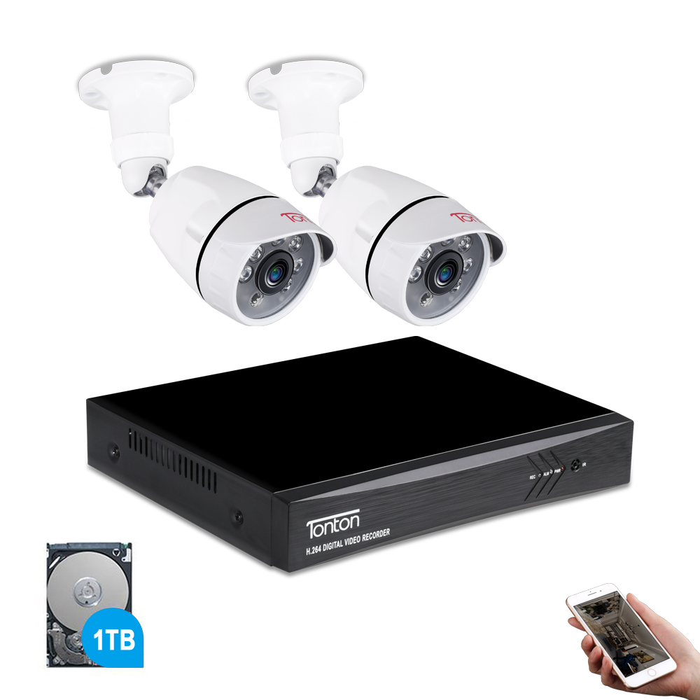 Tonton 1080 P HDMI DVR FULL HD наружная домашняя камера безопасности Система 4CH CCTV видеонаблюдение DVR комплект 2 шт. 2MP камера комплект 1 ТБ HD