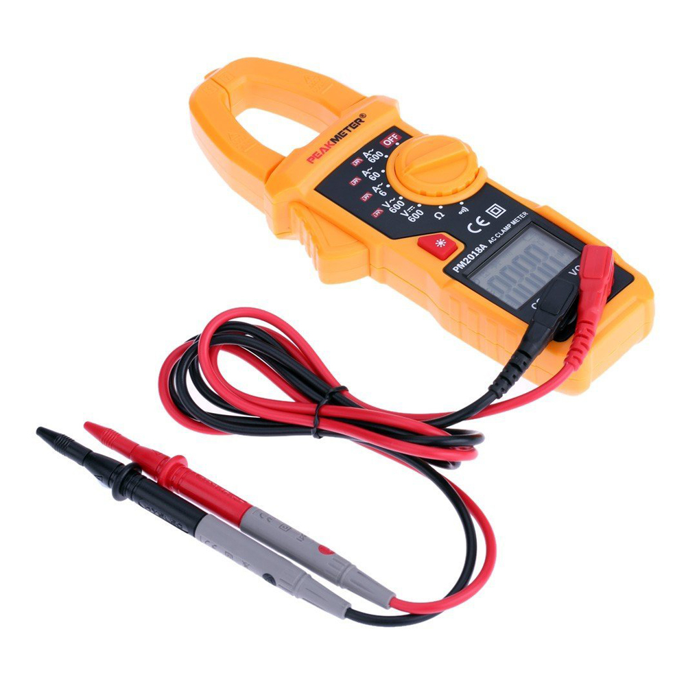 LIXF PEAKMETER PM2018A Handheld Digital LCD Clamp Meter Multimeter AC/DC Voltage AC Current Resistance Continuity with Backlight
