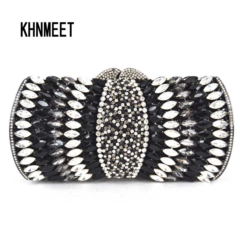 Black white Crystal Clutches Evening Bags Women Clutches Purse Luxury Ladies Night Bags Diamond Party Purse Handbags SC072 free shipping a15 36 sky blue color fashion top crystal stones ring clutches bags for ladies nice party bag