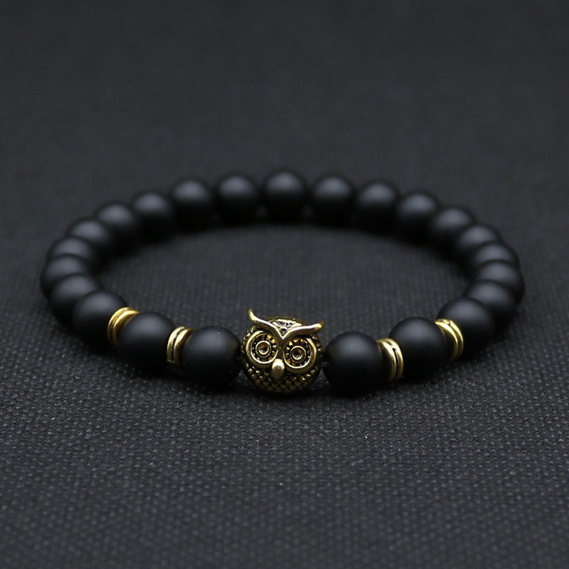 8mm Silver Plated Animal Owl Head Bracelet With Natural Blacs
