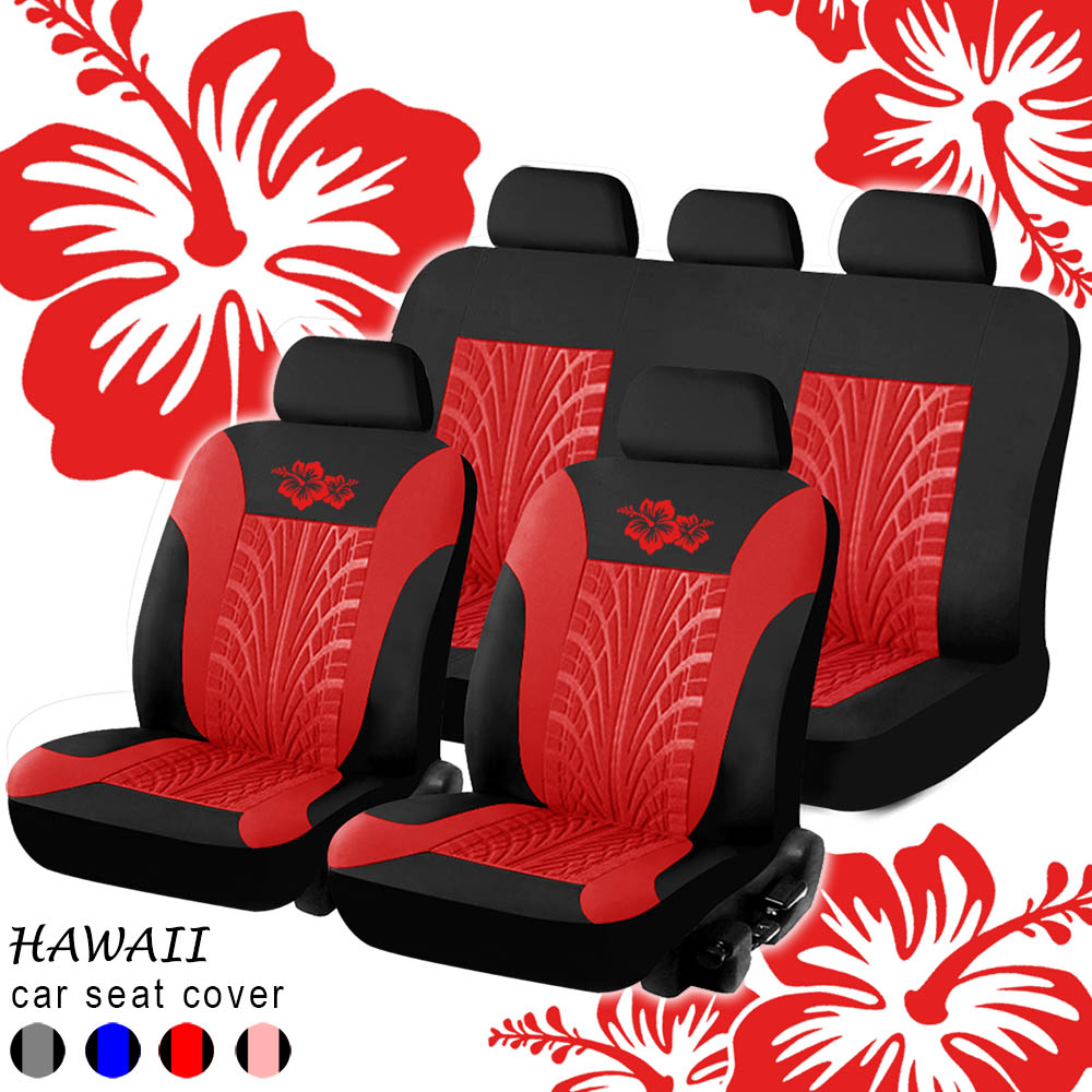 Hawaiian Car Seat Covers >> Universal Full Set Fashion Hawaii Flower Or Synthetic Leather Interior Accessories Automotive Protector Car Seat Cover