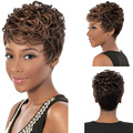 Fashion Charm Lady Light Brown Short Curly Wig Women High Quality Heat Resistant Hair Wigs Black Women Wigs+Free wig cap
