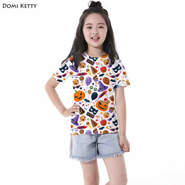 Domi Ketty girls t shirts print Pumpkin bat candy cartoon children boys short sleeve tee Halloween Party kids casual top costume