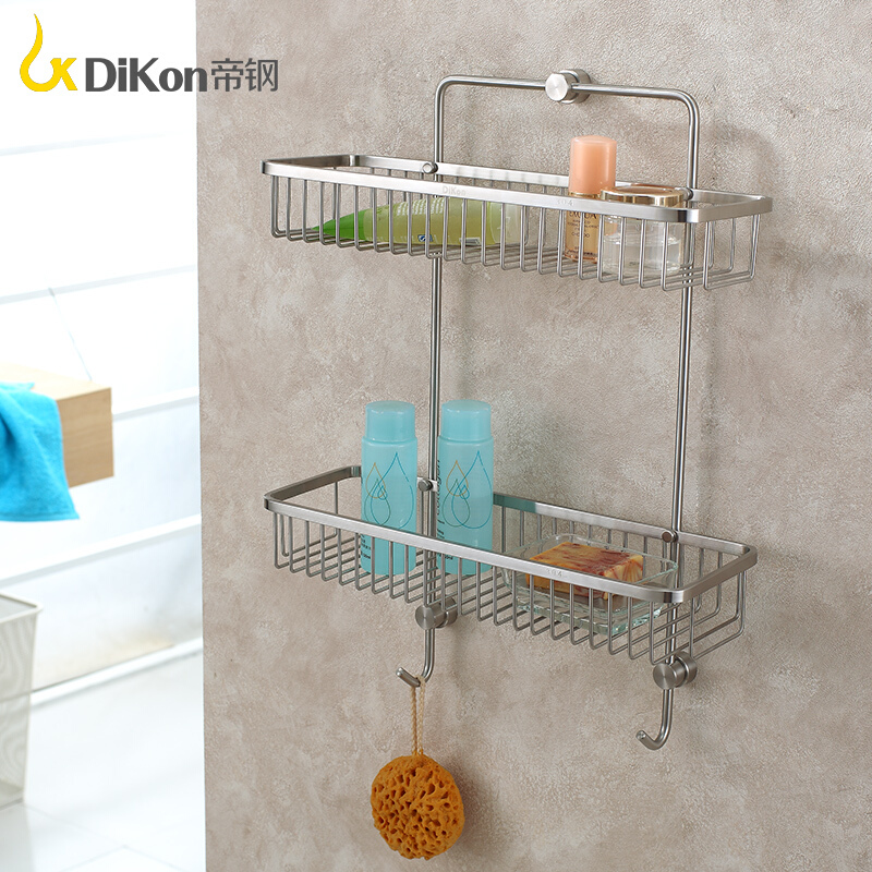 DiKon Bathroom Shelf Basket 304 Stainless Steel Bathroom Accessories Double Dual Tier Rectangle Basket Shelves 304 stainless steel 280 140 500mm bathroom shelf bathroom products bathroom accessories 29016