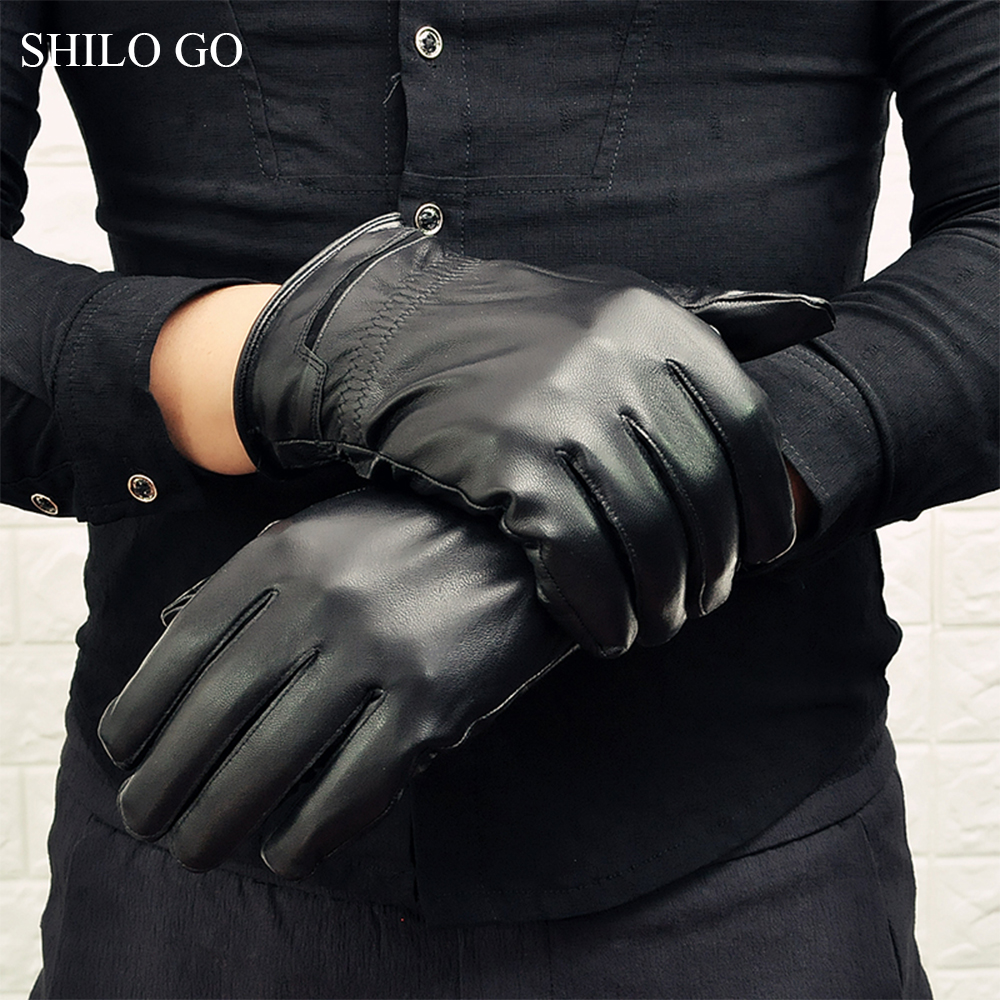 SHILO GO Leather Gloves Mens Spring Fashion sheepskin genuine leather Gloves woven Business Comfortable stretch gloves