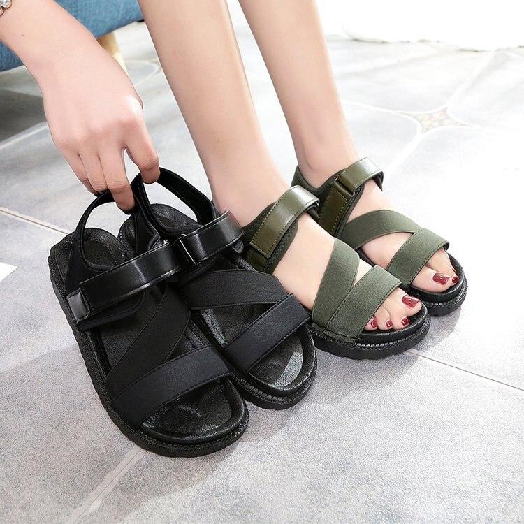 Summer Sandalias Mujer 2019 Shoes Woman Classics Gladiator Hook Loop Sandals Women Shoes Casual Flat Platform Block Heel Shoes 4