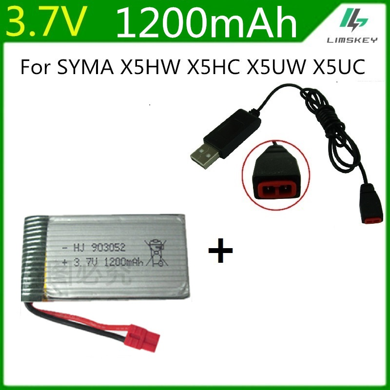 3.7V 1200mah Lipo Battery + Charger For Syma X5HC X5HW RC Quadcopter Spare Parts 3.7V 1200mA Battery RC Camera Drone Accessories