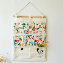 Japanese Grocery Floral Butterfly 8 Pockets Storage Bags Multilayer Wall Hanging Organizer Debris Cotton Pouch Hanging Bags