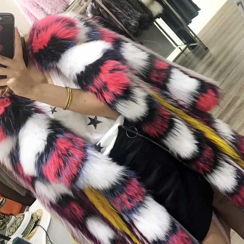 Milan Trình Diễn thời trang mô hình trang trí Bất Raccoon Dog Fur phong cách phổ biến áo khoác lông cho phụ nữ thiết kế raccon lông áo khoác mùa đông