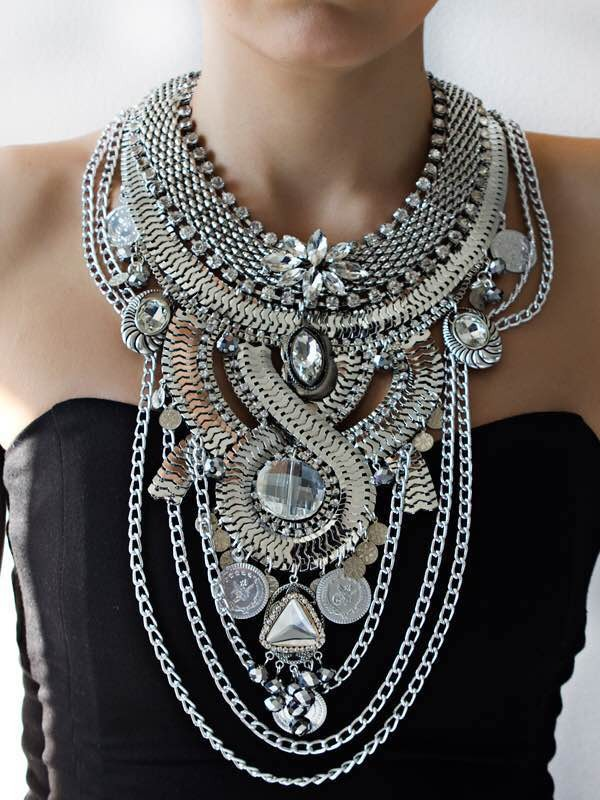2017 New Fashion Design Vintage Bib Collar Chokers Statement Necklaces    Pendants Women Evening Dress Maxi Collar Nekclace XL035-in Chain Necklaces  from ... d5a1c5193d