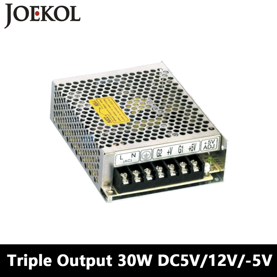 Triple Output Switching Power Supply 30W 5V 12V -5V,Ac Dc Converter For Led Strip Light,110V/220V Transformer To DC 5V/12V/-5V meanwell 12v 350w ul certificated nes series switching power supply 85 264v ac to 12v dc