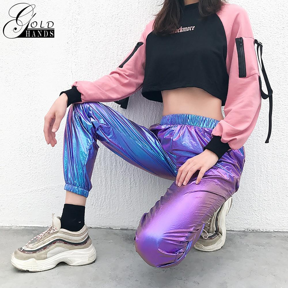 Gold Hands Women Joggers Casual High Waist   Pants     Capris   Hip Hop Holographic Ladies Trousers Laser Reflection Harajuku Sweatpants