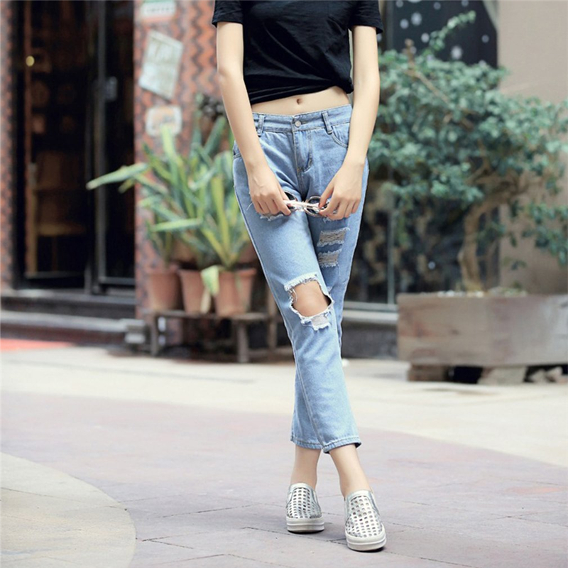 Women Fashion Cotton Jeans Loose High Waist Washed Vintage Big Hole Ripped Long Denim Pencil Pants Female Casual Trousers fashion brand women jeans high waisted denim jeans ripped trousers washed vintage big hole ankle length skinny vaqueros mujer