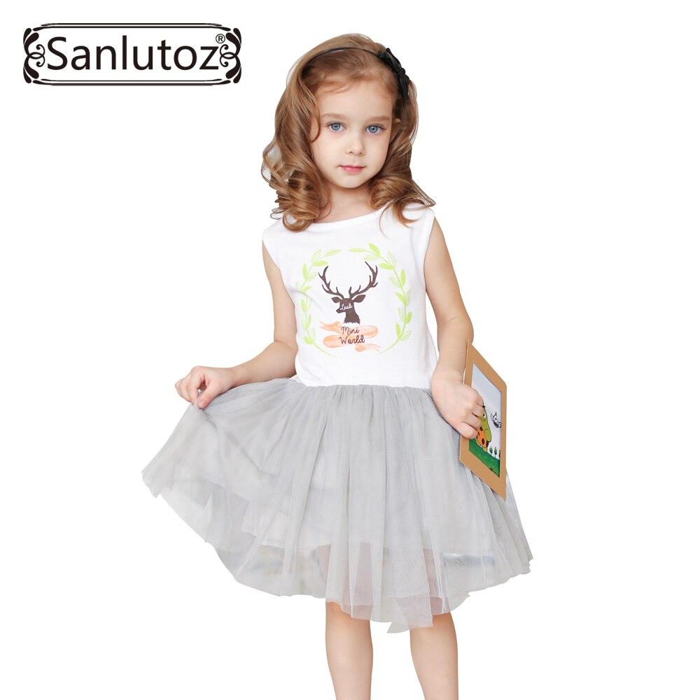 Sanlutoz девушки одежда лето девушки платье дети одежда 2017 марка мода симпатичные партия туту платье для девочек малыша