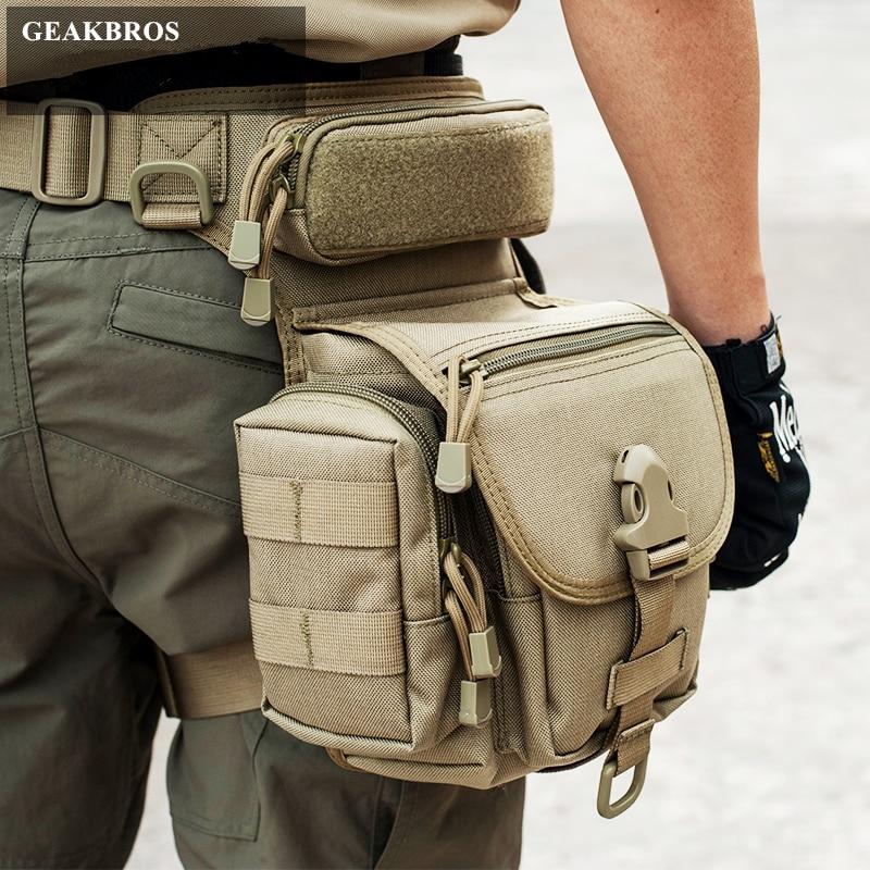 Militar Tactical gota pierna bolsa herramienta Fanny muslo paquete caza bolsa paquete de la cintura de la motocicleta Riding hombres 1000D militar cintura Packs